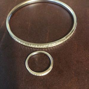 swarovski crystal bangle and ring set